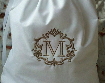 Custom Monogrammed - Embroidered Cotton Drawstring Shoe Bag