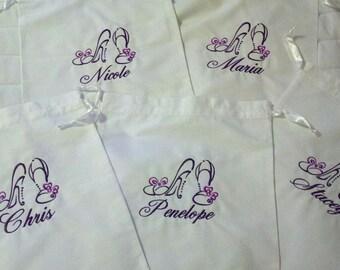 Set of 5 Embroidered Cotton Drawstring Lingerie or Shoe Bag - CUSTOM