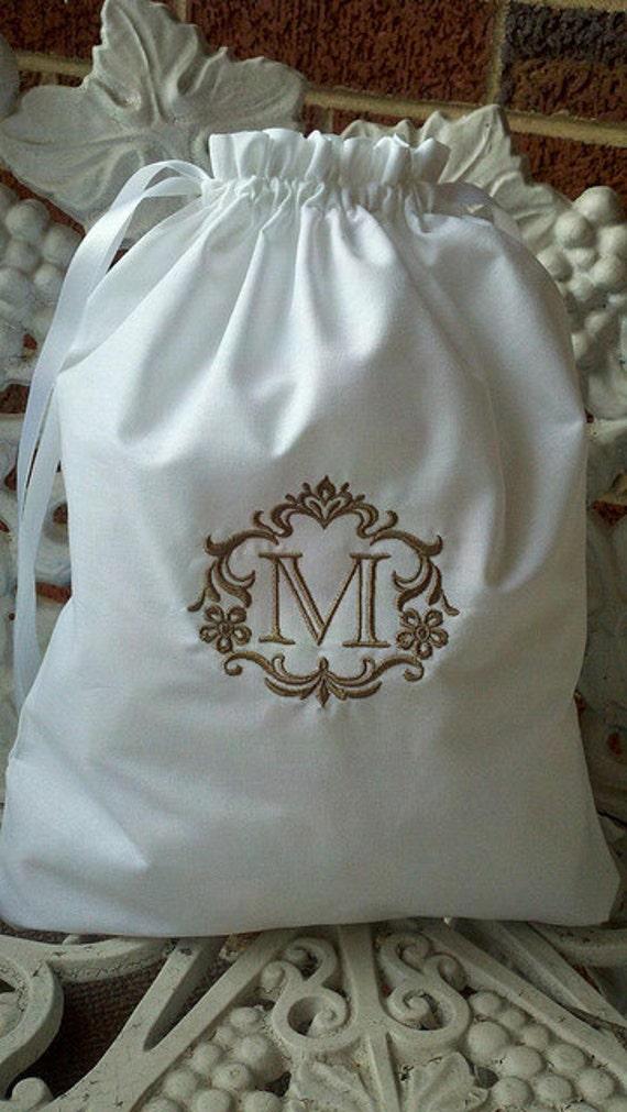 Custom Monogrammed - Embroidered Cotton Drawstring Shoe Bag