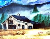 Colorado Print Series, Titled Colorado Gold, Fine Art Watercolor Print, Barn Illustration, Landscape