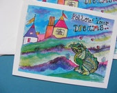 Finnegan The Dragon, Follow Your Dreams Note Card, Childrens Illustration, Watercolor, Paper Products, Stationery, Fantasy, Art