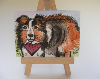 Original  Aceo Watercolor Painting Titled, Paw Prints On My Heart With Wooden Easel,Art, Illustration, Dog, Animals