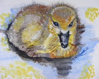 Original Watercolor Painting Titled, Baby Gosling, On Watercolor Paper, Wildlife Art, Bird Illustration, Animals