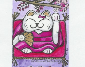 Aceo Trading Card Watercolor Illustration, Childrens Illustration, Fine Art Print, Titled Lucky Cat, Kawaii