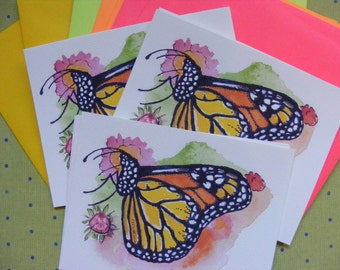 Monarch Butterfly, Butterfly Cards, Monarch Postcards, Butterfly Watercolor, Butterfly Painting, Butterfly Stationery, Monarch Art, Wildlife