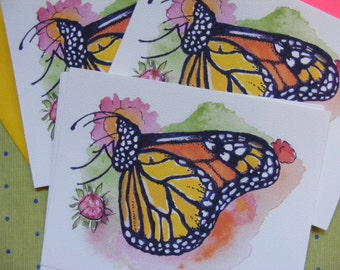 8 Postcard Set With Matching Bold Envelopes,Monarch Butterfly Watercolor Illustration, Butterfly Art, Wildlife, Cards, Stationery