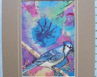 Blue Jay Watercolor Fine Art Print, Double Matted In Beige, Wildlife, Birds, painting, illustration