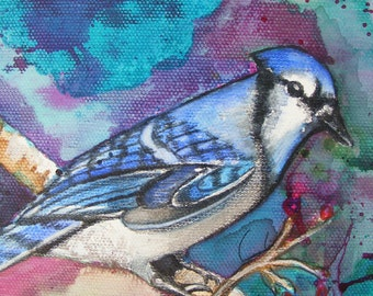 Watercolor Fine Art Print of Blue Jay, Bird, Willdlife Painting, Illustration, Nature, Blue, Green, Tree, Animal, Art, Colorful, Birds, Art