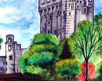 Ireland Print Series, Blarney Castle Watercolor Painting, Fine Art Print, Illustration, Irish Castle, Trees, Landscape