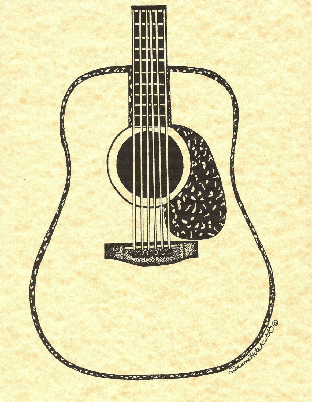 vintage dreadnought acoustic guitar fine art by dawnhitchcock. Black Bedroom Furniture Sets. Home Design Ideas