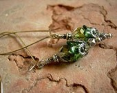 Sparkly Green & Silver Firefly Earrings, Crystal, Resin, Filigree