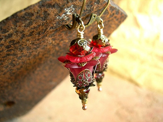Ruby Red Fairy Flower Earrings .Brass Filigree .Faery Couture .Sparkly Crystal