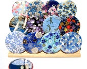 Pocket Mirrors - Cool Front - Set of 5 Japanese chiyogami mirrors with gift bags - LIMITED EDITION