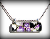 Purple Necklace Pendant. Glass Bar Pendant: Plum Happy Cherry Blossoms