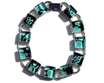 Chocolate Brown and Aqua Glass Bracelet. A Kimono Cube Glass Tile Bracelet by Gamiworks : Mineral