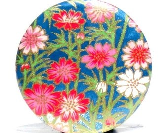 Buy 3 Get The 4th Free - Gerbera Garden Pocket Mirror  - Japanese chiyogami mirror and gift bag