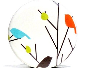 Buy 3 Get The 4th Free - Love Birds  Pocket Mirror- Japanese chiyogami mirror and gift bag