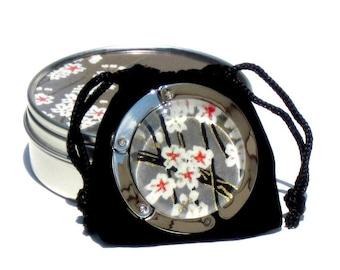 Geisha Gem Purse Hook - Wishing Stone - A Handcut Glass and Japanese Chiyogami Purse or Bag Hanger - Foldable. Portable. Adorable. (TM)