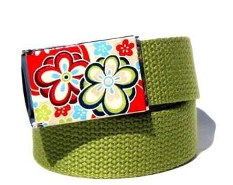 Obi Belt Buckle - Flower Power (Buckle Only) Vegan Friendly Belts