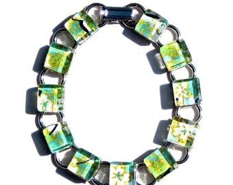 Eden. A Green Kimono Cube Glass Tile Bracelet - by GamiWorks