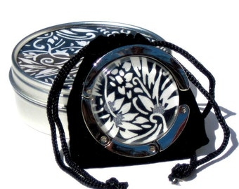 Geisha Gem Purse Hook - Tatoo- A Handcut Glass and Japanese Chiyogami Purse or Bag Hanger - Foldable. Portable. Adorable.