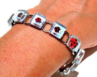 Lady Bug Family. A Kimono Cube Glass TiIe Bracelet by Gamiworks