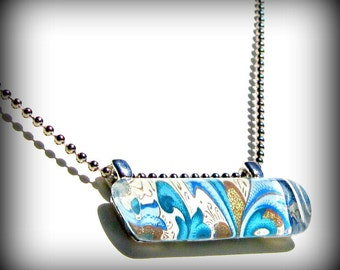 Blue Pendant Charm. Glass. Bar Pendant Necklace. Italian Blue Florentine