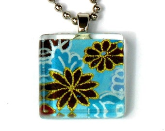 aqua brown blooms - glass and Japanese chiyogami pendant necklace