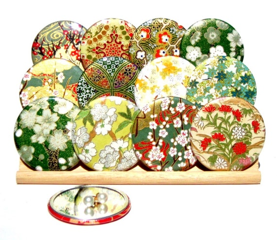 Pocket Mirrors - Golden Soul - Set of 5 Japanese chiyogami mirrors with gift bags - LIMITED EDITION