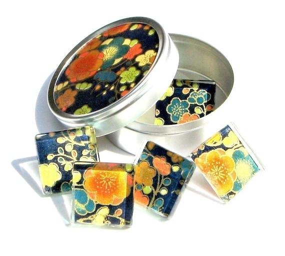 popping blooms - chiyogami and glass push pin thumb tacks