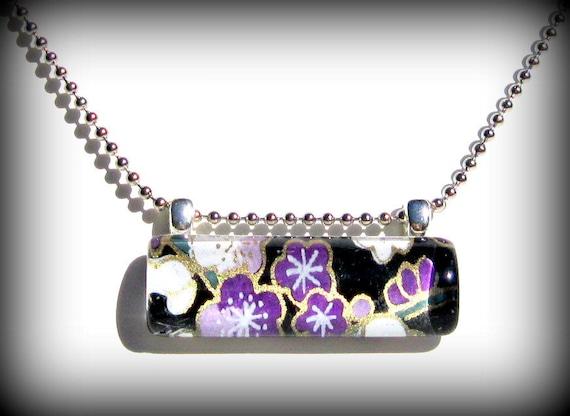 Purple Necklace Pendant. Glass Bar Pendant: Plum Happy Cherry Blossoms