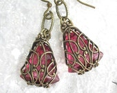 Enchanted Rose Earrings - Filigree Wrapped Glass Jewel Antiqued Brass Ox