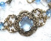 Summertime Blues - Victorian Style Sapphire Glass Bracelet