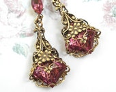 Pink Posies - Filigree Wrapped Rose Glass Earrings