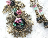 Ruffles and Roses - Pink and Black Victorian Style Necklace and Earring Set
