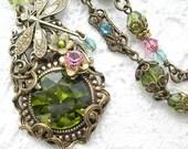 Enchanted Forest - Olivine Dragonfly Necklace with Vintage Swarovski Jewel