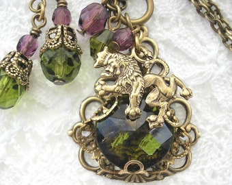 Scottish Lion Pendant and Earrings - Olivine Glass Jewel Wrapped in Antiqued Brass
