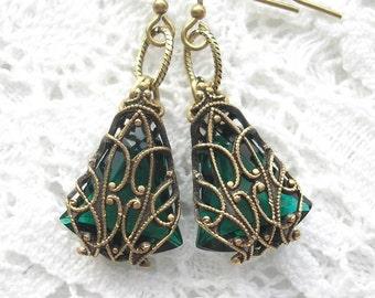 Enchanted Emerald - Filigree Wrapped Glass Dangle Earrings