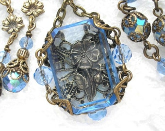 The Window Garden - Sapphire Blue Glass Victorian Style Necklace - Antiqued Brass Necklace Set