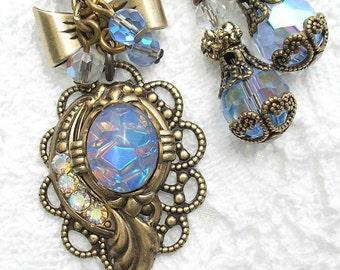 Blue Opal Poetry Pendant - Vintage Sapphire Glass Opal