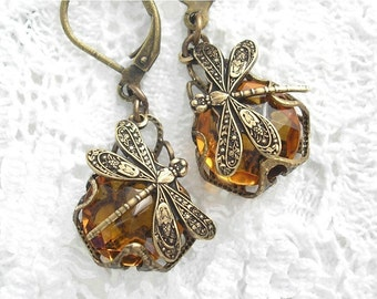 Amber Topaz Dragonfly Earrings Antiqued Brass and Glass Jewel Earrings