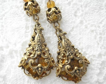 Royal Topaz Earrings - Filigree Wrapped Vintage Glass Jewels