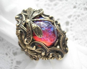 Dream Weaver Ring - Mexican Glass Opal Dragons Breath Fireopal Ring Antiqued Brass Ring