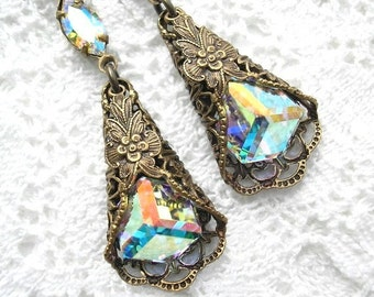 After the Rain - Swarovski Crystal Earrings Antiqued Brass Vintage Inspired