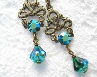 Wintergreen Earrings Teal Glass Dangle Earrings