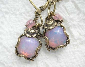 Pink Opal Roses - Victorian Style Glass Opal Earrings