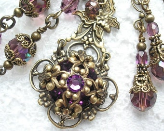 Berry Blossom - Amethyst Purple Glass Jewel Necklace and Earring Set Vintage Inspired