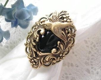 Night Flight - Jet Black Antiqued Brass Victorian Style Ring