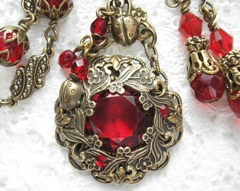 Roses Are Red - Ruby Red Glass Necklace and Earring Set - Antiqued Brass