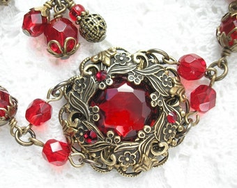 Roses are Red Bracelet - Ruby Red Glass and Brass